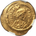 Ancients:Byzantine, Ancients: Maurice Tiberius (AD 582-602). AV semissis (20mm, 2.24gm, 3h).NGC MS 4/5 - 4/5....