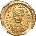 Ancients:Roman Imperial, Ancients: Marcian, Eastern Roman Empire (AD 450-457). AV solidus(21mm, 4.47 gm, 5h). NGC MS 4/5 - 4/5....