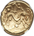 Ancients:Celtic, Ancients: GAUL. Ambiani. Ca. 59-50 BC. AV stater (17mm, 6.19 gm).NGC AU 4/5 - 4/5....
