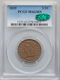 Half Cents: , 1829 1/2 C MS63 Brown PCGS. CAC. PCGS Population: (45/46). CDN: $500 Whsle. Bid for problem-free NGC/PCG...