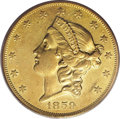 Liberty Double Eagles: , 1859-O $20 AU50 PCGS. The elusive nature of this coin begins withits minuscule mintage, only 9,100 pieces in pre-Civil War...