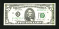 "Error Notes:Major Errors, Fr. 1976-K $5 1981 Federal Reserve Note. Fine.. An ""end of roll""vertical matte green stripe is found along the right-hand e..."