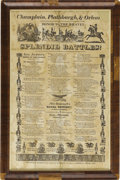 """Political:Posters & Broadsides (pre-1896), 1826 Andrew Jackson Broadside Featuring Patriotic Poetry - """"Champlain, Plattsburgh, & Orlean - Honor the Brave!!"""". 11.5"""" x 1..."""