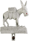 "Political:3D & Other Display (1896-present), Roosevelt-Garner License Plate Attachment, cast aluminum, 5.5"" x6.5"" (with bolt), probably 1936. A grinning Democratic donk..."