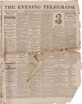 Political:3D & Other Display (pre-1896), April 15, 1865 The Evening Telegraph Newspaper with News of Lincoln's Assassination. This Third Edition of The Eve...