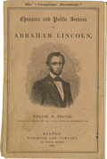 """Political:Small Paper (pre-1896), Lincoln Campaign Booklet, Character and Public Services ofAbraham Lincoln by William M. Thayer, 76 pp., 4.25"""" x 6.75"""",..."""