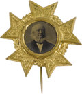 Political:Ferrotypes / Photo Badges (pre-1896), Horace Greeley: A Magnificent 1872 Ferrotype in Fancy Brass ShellFrame. Greeley's was a quixotic campaign against a highly ...