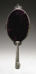 Other:American, AN AMERICAN SILVER HAND MIRROR. Maker unknown, Early TwentiethCentury. Unidentified hallmark to the top reverse of the ha...