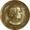 Military & Patriotic:Indian Wars, Andrew Johnson Indian Peace Medal Signed by Anthony Paquet, 1865,silvered bronze, 76mm diameter x 7mm thickness, Julian IP-...
