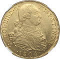 Colombia, Colombia: Charles IV gold 8 Escudos 1804 NR-JJ MS61 NGC,...