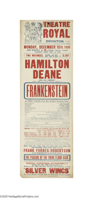 Frankenstein - Broadside from the London Theatrical Production by Hamilton Deane (1930)