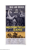 "Movie Posters:Drama, Motorcycle Gang (AIP, 1957). Three Sheet (41"" X 81""). AIP frequently used juvenile delinquents and trends, like motorcycle g..."