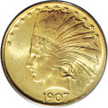Indian Eagles, 1907 $10 No Periods MS66 PCGS....