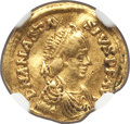 Ancients:Byzantine, Ancients: OSTROGOTHS. Theoderic in the name of Anastasius I (AD491-518). AV tremissis (16mm, 1.42 gm, 5h). NGC VF 5/5 - 2/5, wavyflan,...