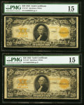Large Size:Gold Certificates, Two Fr. 1187 $20 1922 Gold Certificates PMG Choice Fine 15.. ... (Total: 2 notes)