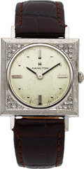 Timepieces:Wristwatch, Hamilton, Rare Lord Lancaster F, 14K White Gold and Diamon...