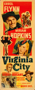 """Movie Posters:Western, Virginia City (Warner Brothers, 1940). Folded, Fine+. Linen Finish Insert (14"""" X 36"""").. ..."""