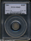 Seated Half Dimes: , 1861 H10C MS65 PCGS. ...