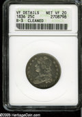 """Bust Quarters: , 1836 25C VF20--Cleaned--ANACS,VF Details,B-3. The current Coin Dealer Newsletter (Greysheet) wholesale """"bid"""" price is $90.00...."""