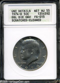 Kennedy Half Dollars: , 1974-D 50C Doubled Die Obverse AU55--Scratched-Cleaned--ANACS,UNCDetails,FS-015....