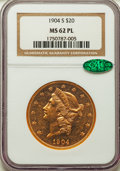 Liberty Double Eagles, 1904-S $20 MS62 Prooflike NGC. CAC....