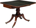 Furniture , An English Regency Mahogany and Leather Flip-Top Game Table, circa 1810. 29 x 35-1/2 x 34-1/2 inches (73.7 x 90.2 x 87.6 cm)...