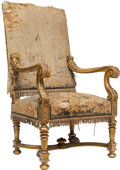 Furniture , A Continental Carved Giltwood and Tapestry Upholstered Armchair, 19th century. 47-1/4 x 25-3/8 x 28-1/2 inches (120.0 x 64.5...