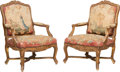 Furniture , A Pair of Louis XV-Style Giltwood and Tapestry Upholstered Armchairs, circa 1880. 40 x 29 x 30 inches (101.6 x 73.7 x 76.2 c... (Total: 2 Items)
