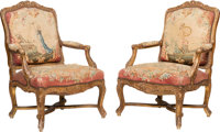A Pair of Louis XV-Style Giltwood and Tapestry Upholstered Armchairs, circa 1880 40 x 29 x 30 inches (101.6 x 73.7