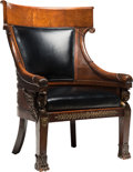 Furniture , A Napoleon III Carved Mahogany, Bronze, and Leather Armchair, early 19th century. 39-1/2 x 26 x 22 inches (100.3 x 66.0 x 55...