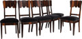 Furniture , A Set of Six Art Deco Macassar Ebony and Mohair Upholstered Side Chairs, 20th century. 38-1/4 x 19 x 18-1/2 inches (97.2 x 4... (Total: 6 Items)