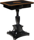 Furniture : Continental, A Neoclassical Painted and Ebonized Wood Tea Table, 19th century. 30-1/8 x 24-3/4 x 18-1/2 inches (76.5 x 62.9 x 47.0 cm). ...
