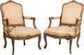 Furniture , A Pair of Louis XV-Style Giltwood Armchairs with Velvet Brocade Upholstery, 19th century. 39-1/2 x 26-3/4 x 30-1/2 inches (1... (Total: 2 Items)