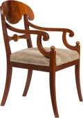 Furniture, A Continental Biedermeier Mahogany Armchair, possibly Swedish, 19th century. 35-1/2 x 23-1/8 x 22-1/2 inches (90.2 x 58.7 x ...