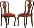 Furniture , A Pair of Walnut and Wool Upholstered Side Chairs, 19th century. 40 x 19-1/2 x 23 inches (101.6 x 49.5 x 58.4 cm). PROPERT... (Total: 2 Items)