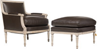 A Contemporary Louis XVI-Style Leather Armchair and Ottoman, 21st century 34-1/2 x 29-1/2 x 32 inches (87.6 x 74.9