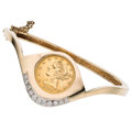Estate Jewelry:Bracelets, Diamond, U.S. Gold Coin, Gold Bracelet. ...