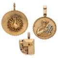 Estate Jewelry:Pendants and Lockets, Synthetic Stones, Gold Pendants. ... (Total: 3 Items)