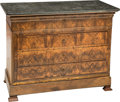 Furniture , A Continental Figured Walnut Secretary Chest with Granite Top, early 19th century. 39-1/4 x 51-1/4 x 23-1/2 inches (99.7 x 1...