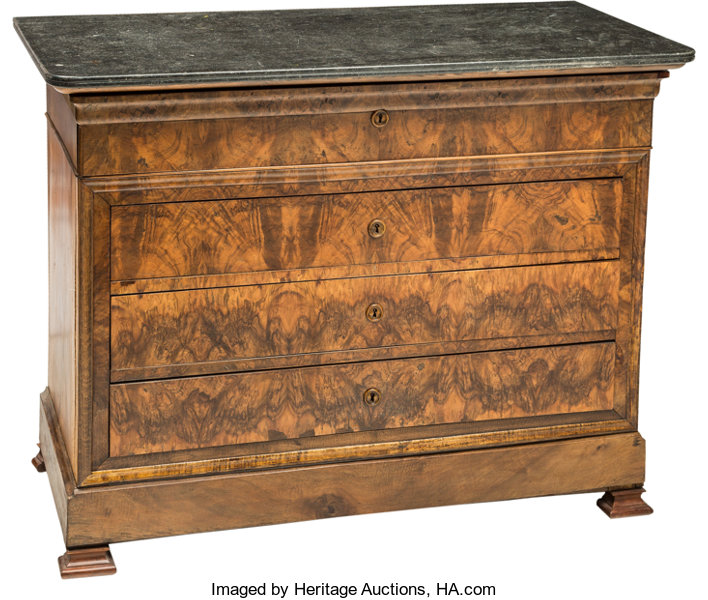 Furniture A Continental Figured Walnut Secretary Chest With Granite Top Early 19th Century