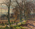 Paintings, James McIntosh Patrick (British, 1907-1998). Gloaming light on a narrow country road. Oil on canvas. 25 x 30 inches (63....