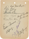Autographs:Index Cards, 1932 New York Yankees Multi-Signed Album Page with Lou Gehrig....