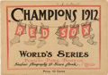 Baseball Collectibles:Programs, 1912 World Series Game 3 Program (Red Sox)....
