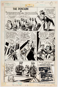 """Curt Swan and Tex Blaisdell Hostess Fruit Pie Ad Complete 1-Page Story """"Penguins On Parade!"""" Original Art (DC..."""