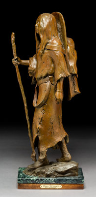 Richard Vernon Greeves (American, b. 1935) Bird Woman, 2001 Bronze with brown patina 22-1/2 inche
