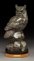Sculpture, Gerald Balciar (American, b. 1942). Give a Hoot, 2009. Bronze with grey patina. 12 inches (30.5 cm) high on a 1-1/2 inch...
