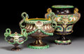 Ceramics & Porcelain:Antique  (Pre 1900), A Group of Three French Majolica Jardinières, late 19th century . 13-1/2 x 13 x 13 inches (34.3 x 33.0 x 33.0 cm) (tallest)... (Total: 3 Items)
