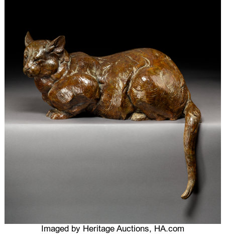 Dan Ostermiller (American, b. 1956)Barn Cat, 2001Bronze with brown patina17 inches (43.2 cm) highEd. 16/20Insc...
