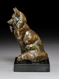 Bronze:American, Ken Bunn (American, b. 1935). Food Chain (Red Fox withMouse), 2000. Bronze with brown patina . 8-1/2 inches (21.6 cm)h...