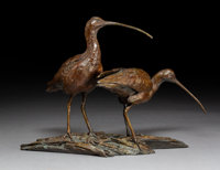 Walter Matia (American, b. 1953) High Plains Drifters, 2006 Bronze with brown patina 11-1/2 inch